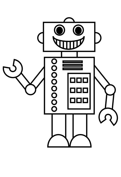 Simple Robot Coloring Page | robots simple robots coloring pages for kids to print