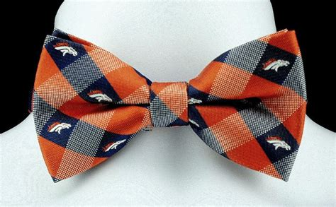 new denver broncos plaid checks mens bow tie adjustable