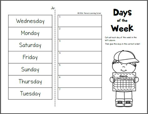 Days Of The Week Worksheet by Day Of The Week Activity Worksheets 107 Free Months Days