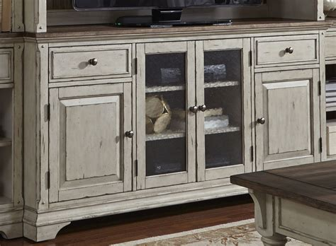 Morgan Creek Antique White Entertainment Tv Stand From