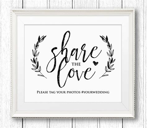 Wedding Hashtag Sign Share The Love Reception Sign Rustic Wedding Shoes Sign Template
