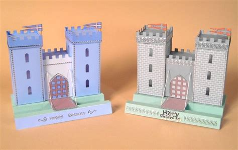 Castle Towers Gift Card - a4 card making templates for 3d opening castle display box by card carousel ebay