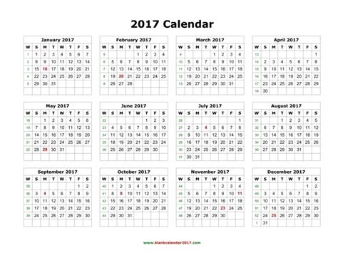 year at a glance calendar 2017 free printable free