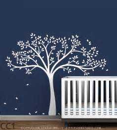 White Tree Decal For Nursery Wall Baby Decor Fall Tree Wall Decal Baby Nursery By Leolittlelion