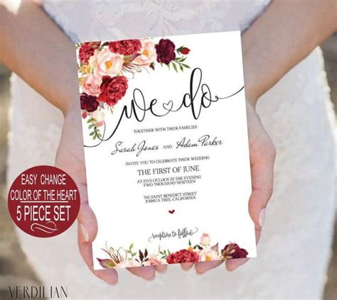 Burgundy Flowers Watercolor Floral We Do Wedding Invitation Template 5 Piece Suite Diy Printable Maroon Wedding Invitation Templates
