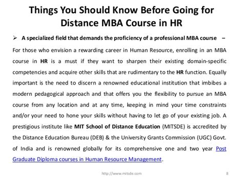 Mba Hr Course Subjects by Things You Should Before Going For Distance Mba