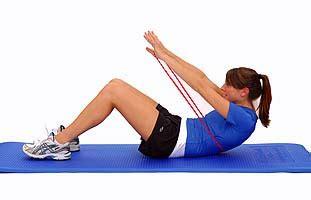 thera band loop abdominal crunch performance health