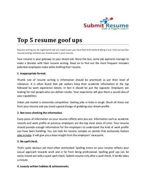 Top 5 Resumes top 5 resume goof ups