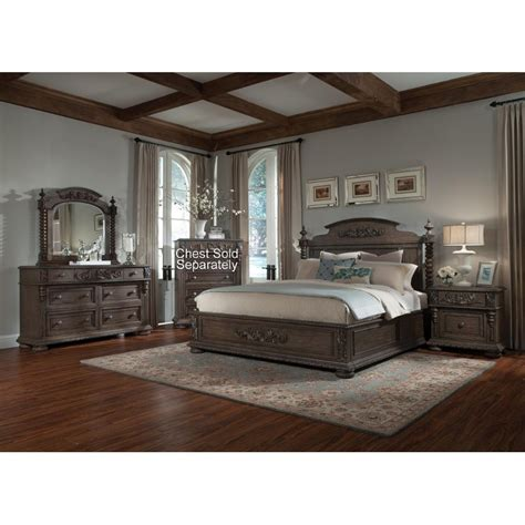 King Bedroom Furniture Set by Versailles Pewter Brown 6 Cal King Bedroom Set