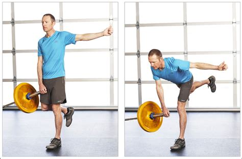 running rewired reinvent your run for stability strength and speed books landmine single leg deadlift dicharry exercise from