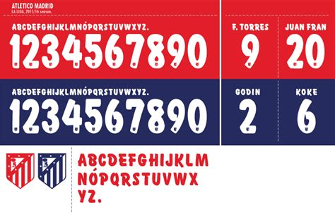 Custom Font Nameset La Liga Atletico Madrid 2017 2018 football teams shirt and kits fan font atletico madrid 2015 16 kits