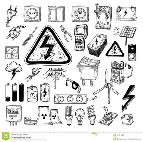 how to create energy in doodle electricity doodle icon collection vector illustration