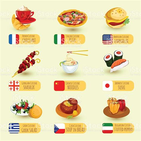 foods from around the world a set of food icons from around the world stock vector art