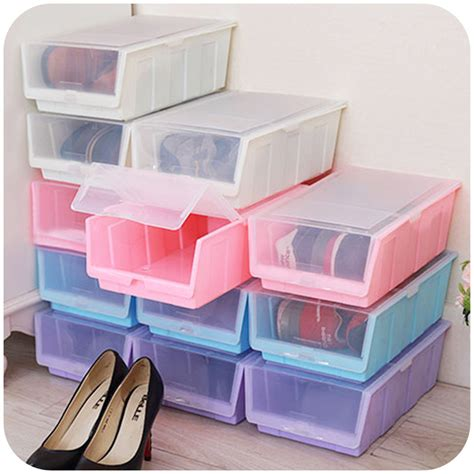 japanese shoe storage colorful japanese style thick transparent plastic shoebox