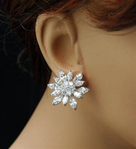 flower cz bridal earrings wedding bridal earrings silver