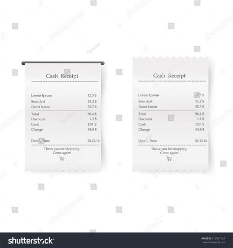 atm receipt template sales printed receipt vector bill atm stock vector