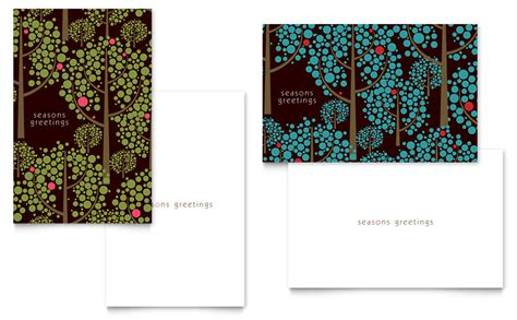 half fold card template publisher stylish trees greeting card template word