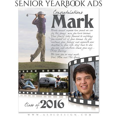 senior yearbook ads photoshop templates film strip high