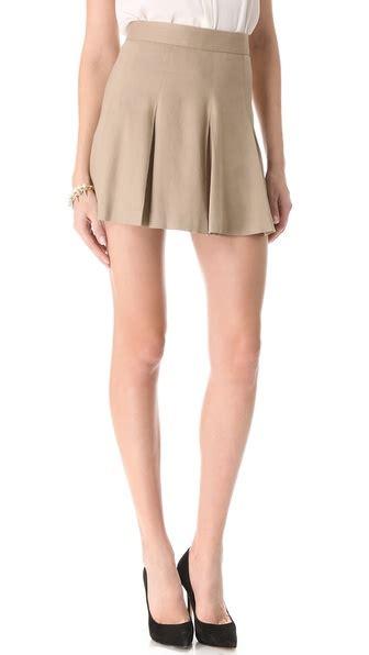 box pleat khaki skirt in lyst