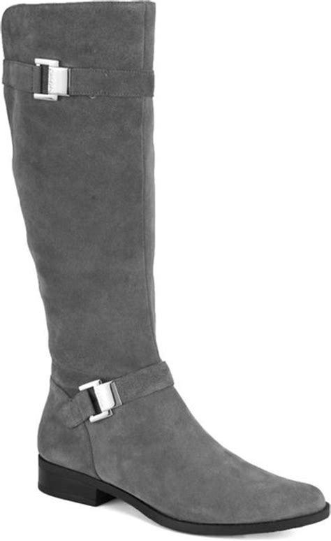 calvin klein suede boots in gray grey lyst