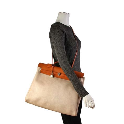 Salfator Feragamo 2in1 Mc3278 hermes leather canvas herbag 2 in 1 beige luxity