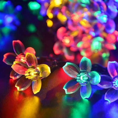 solar flower lights 50 led solar power colorful flower string lights