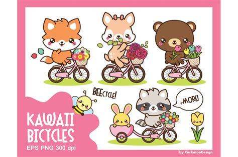 kawaii bicycle ride illustrations creative market