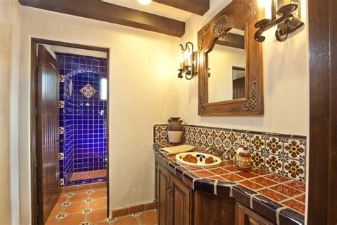 mexican tile bathroom white cabinet hardware room