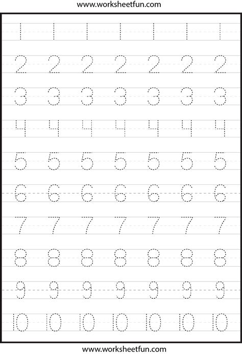 free printable tracing numbers 1 10 worksheets tracing numbers 1 10 worksheet free images
