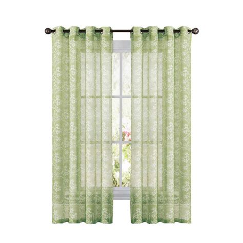 Sheer Linen Curtains Window Elements Botanica Faux Linen Leaf Semi Sheer Grommet Wide Curtain Panel 54 In W X