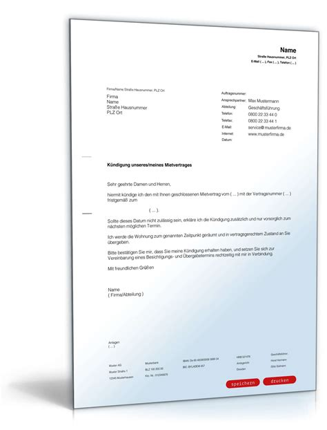 Musterbrief Anfrage Kredit Fristgem 228 223 E K 252 Ndigung Mietvertrag Durch Mieter