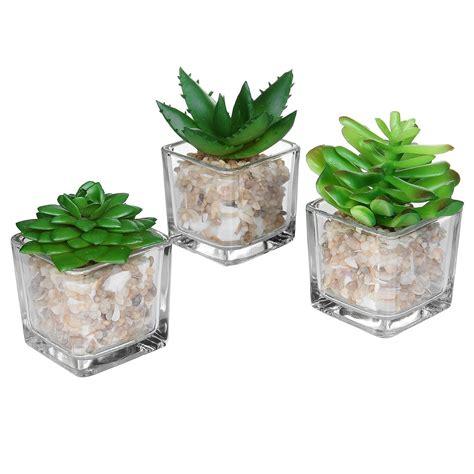 decorative glass pots small glass cube artificial plant modern home decor faux