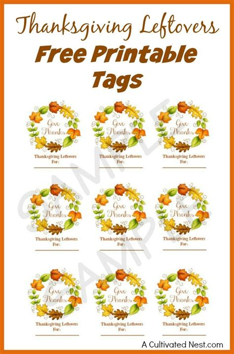 printable thanksgiving tags thanksgiving leftovers free printable tags free
