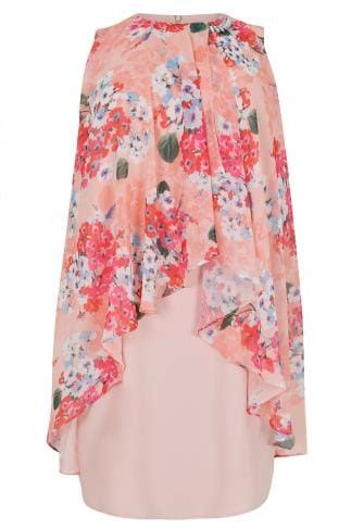 Flatshoes Ribbon Sm 21 Salem Limited pink coral floral printed dress with layered front diamante detail neckline plus size 16 to 36