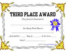free printable 3rd third place award certificate templates