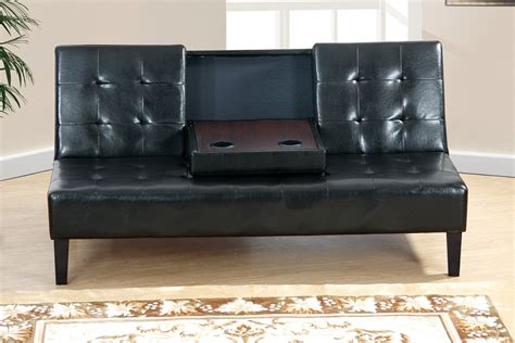 faux leather futons poundex futon with console black faux leather f7209