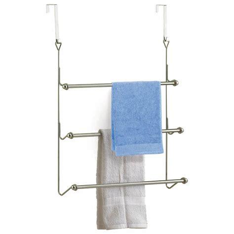 bathroom door towel hanger 3 tier chrome over door towel rail rack hanger holder