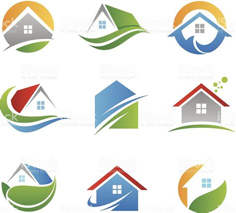 house beautiful logo eco house logos and icons stock vector art more images
