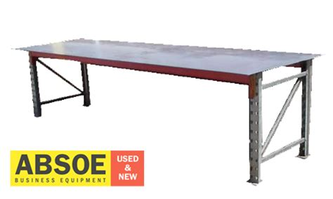 used metal work bench steel frame top 2400mm w workbench absoe