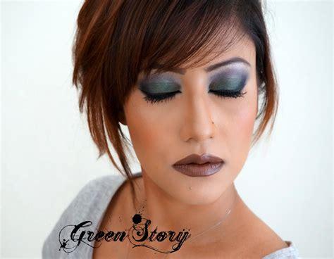 Lipstik Jackelin greenstory bottle green and dusky violet smokey eye