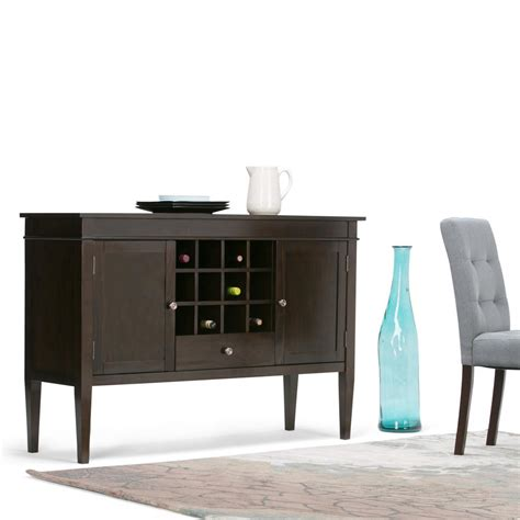home wine storage simpli home carlton tobacco brown buffet with wine storage