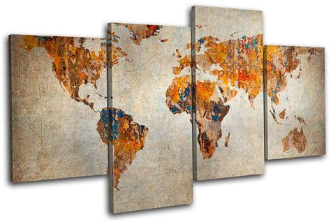 Earthbound Home Decor by Grunge World Atlas Maps Flags Multi Canvas Wall Art Picture Print Va Ebay