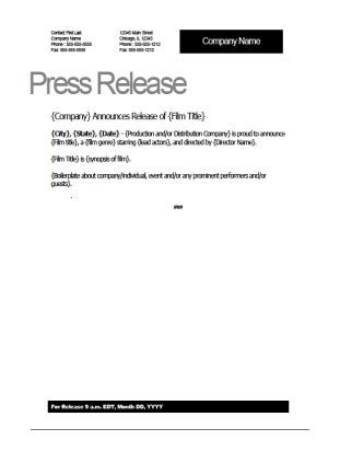 film press release template