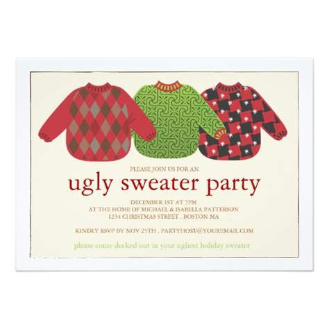 ugly christmas sweater party invitation zazzle co uk