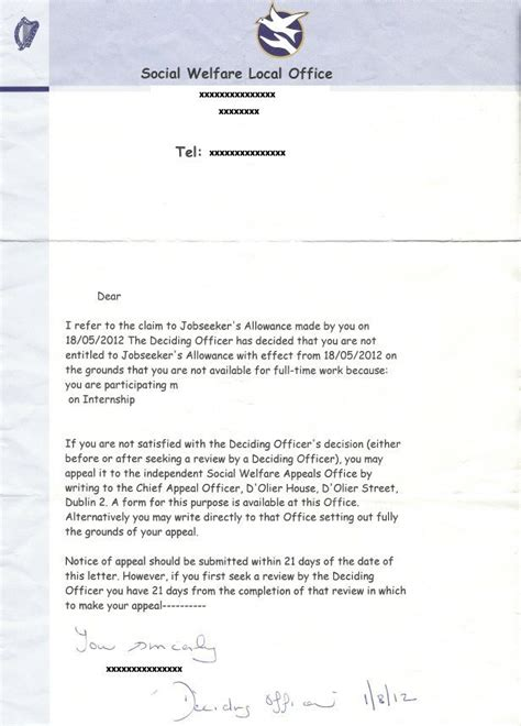 Homeless Certification Letter social welfare broadsheet ie