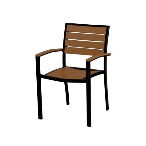 Teak Patio Chair Polywood Textured Black Teak Patio Dining Arm Chair A200fabte The Home Depot