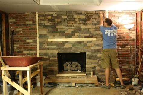 refacing a brick fireplace family room redo