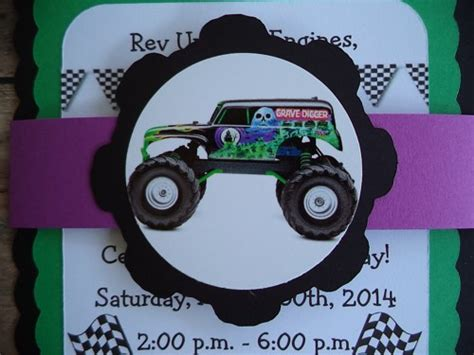 grave digger monster truck party supplies monster truck birthday invitations grave digger