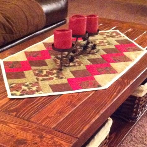 pine cone coffee table runner tableside