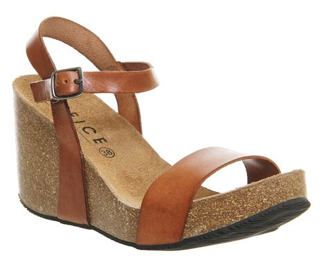 Wafa Cork Sandal From Office by Office Whistler Cork Wedges Leather Mid Heels